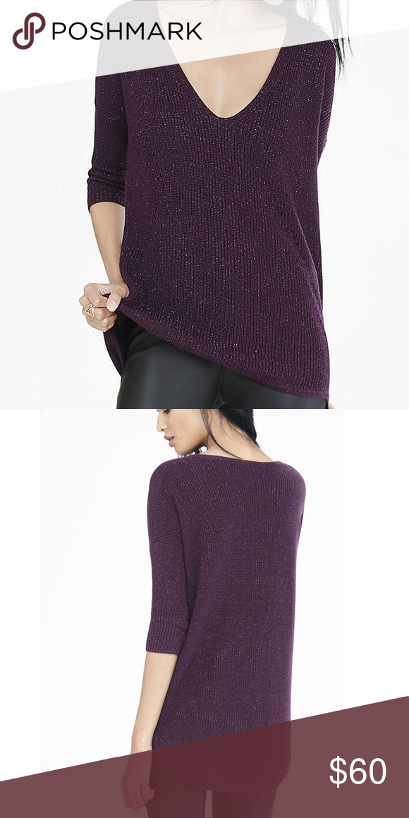 Express Currant Metallic London Sweater NWT | Dark purple ...