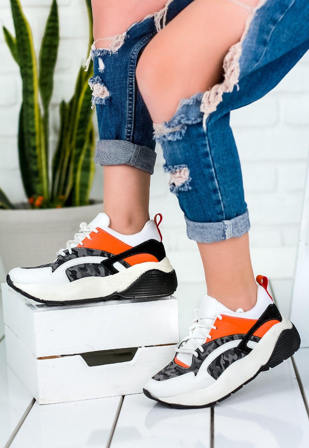 Bona Beyaz Cilt Turuncu Detayli Bayan Spor Ayakkabi Ayakkabilar Kadin Spor