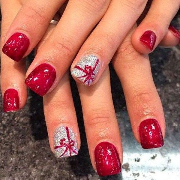 Christmas Nail Art Design With Present Tie