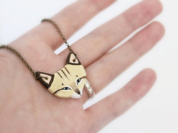 Sand Cat Necklace earthenware ceramic cat totem by HandyMaiden