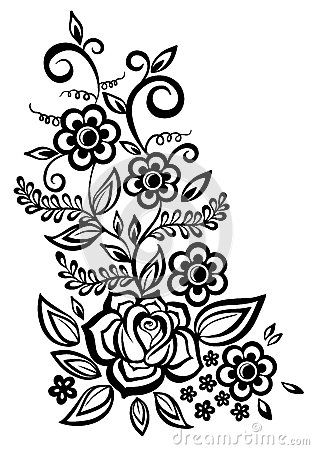Black And White Flowers And Leaves Design Element By 1evgeniya1 Via