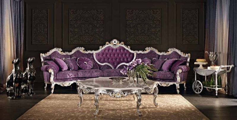 Delicieux Living Room: Elegant Purple Living Room Set Leather Furniture