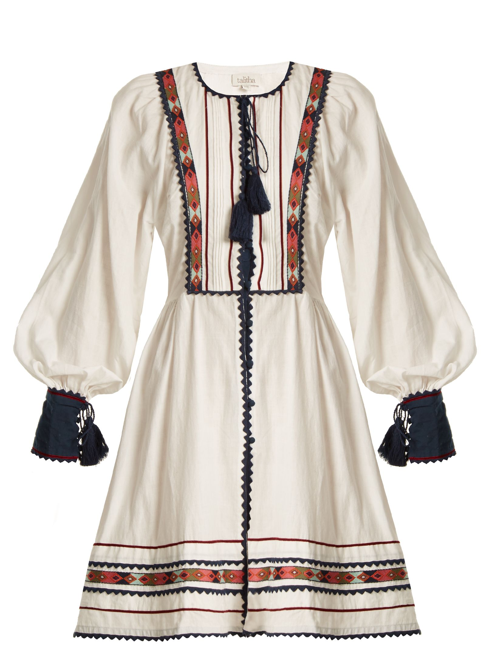 66a033004e7 Embody the nomadic aesthetic of Talitha with this white zoya-embroidered  Athena dress. It s crafted from breathable cotton that s shaped to a slim  ...