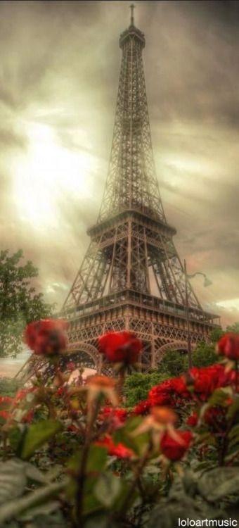 Evening Sun Rays through Eiffel Tower - Paris France