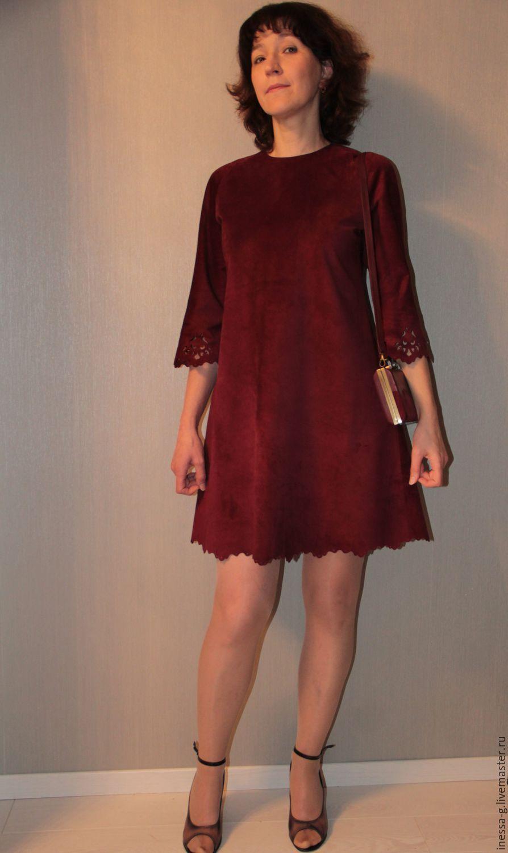 8903a7b61bfb Купить Замшевое платье цвета марсалы - бордовый, однотонный, Платье  нарядное, одежда из замши