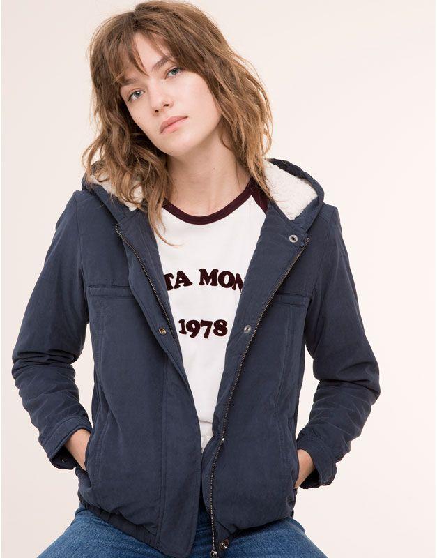 pull bear woman jackets blazers borg hooded jacket. Black Bedroom Furniture Sets. Home Design Ideas