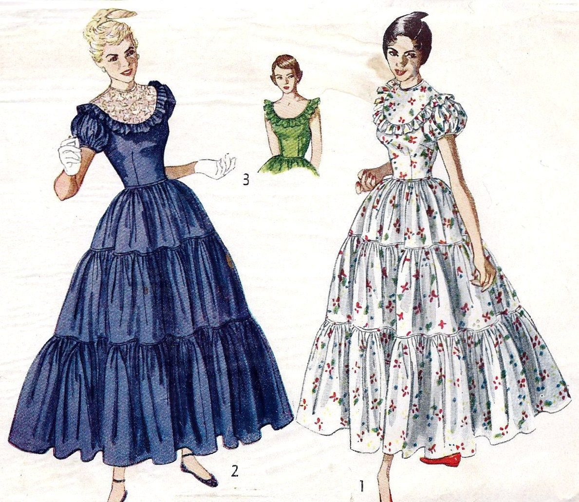 1940s Prom Dress Evening Gown Ball Gown Vintage Sewing Pattern Simplicity 3040 Bust Simplicity Patterns Dresses Evening Dress Patterns Tiered Dress Pattern [ 1031 x 1189 Pixel ]