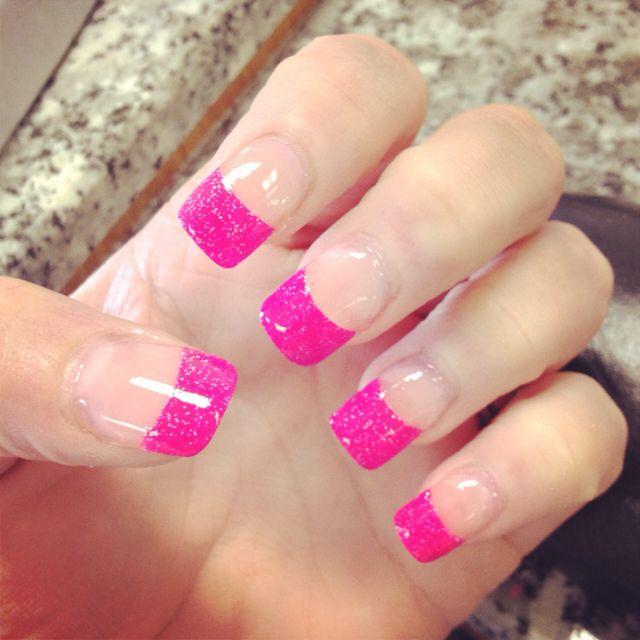 Pin By Alanna Rodriguez On Nails Pink Tip Nails Acrylic Nail Tips Pink Nails