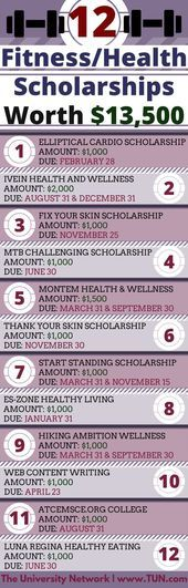 12 Fitness / Health Scholarships (worth $ 13,500) | The university network   Do you love hiking, mak...