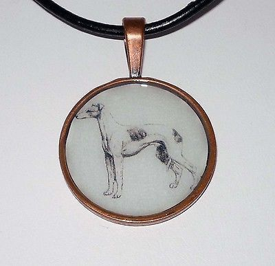 Altered Art Pencil Sketch Greyhound Dog Pend Necklace C