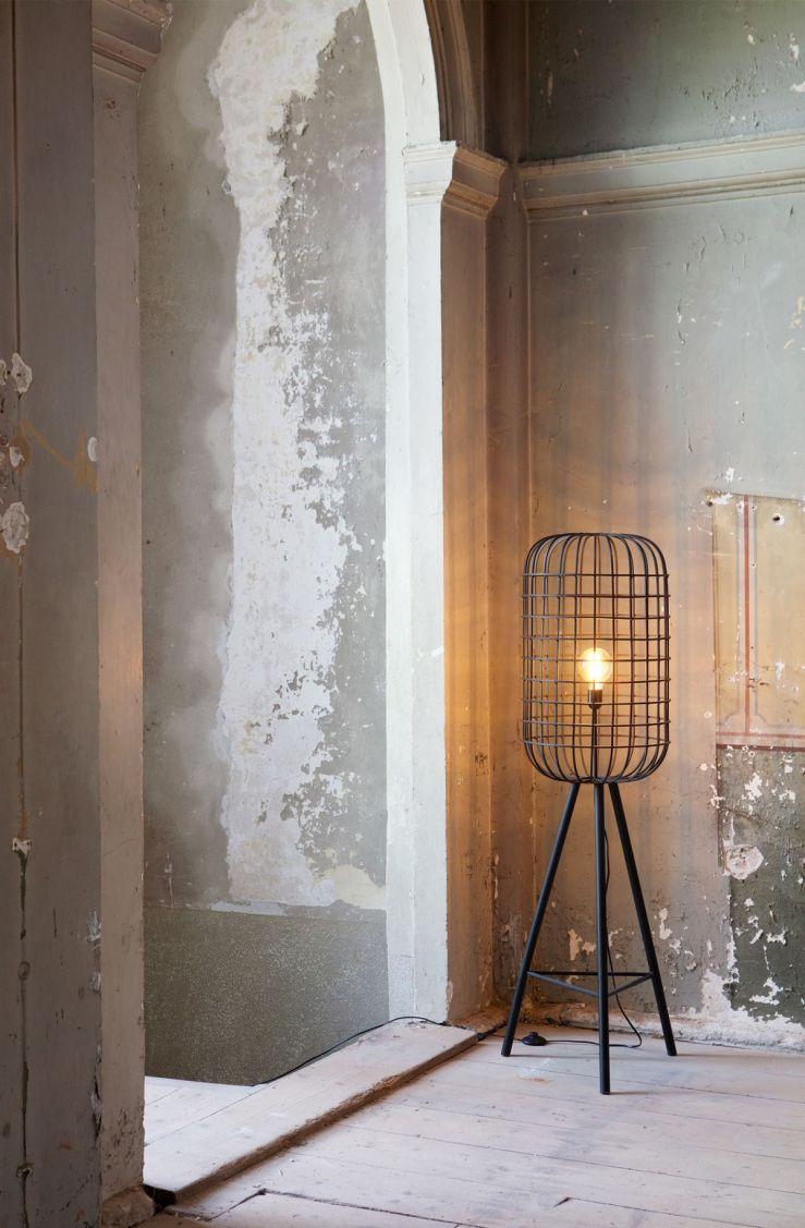 Woonvondst stoere vloerlamp met kooiconstructie  Home