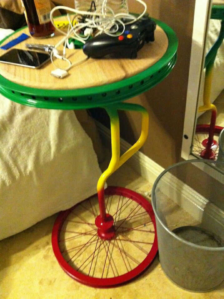 A table I made out of recycled bicycle parts. The top spins also.