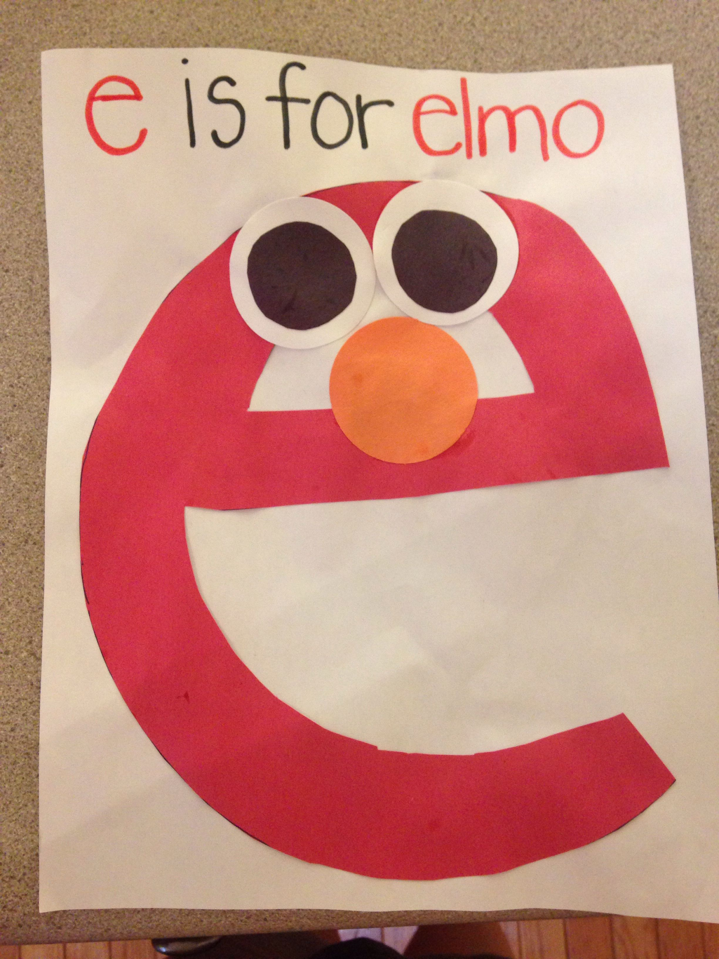 E Is For Elmo Lowercase Letter E Craft