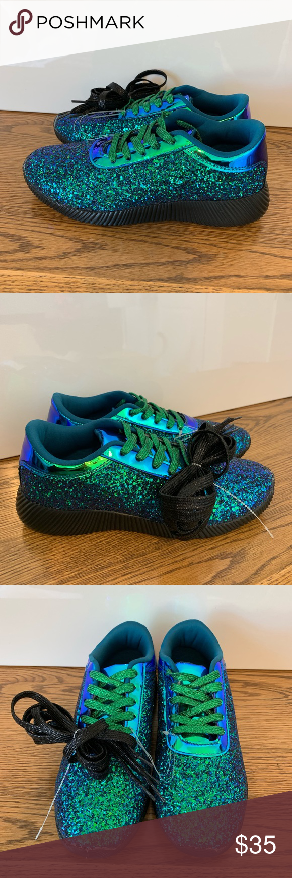 1492df4ab80e NWT 🧜🏼 ♀ Mermaid Glitter Tennis Shoes 🧜🏼 ♀ Brand New Mermaid Glitter  Tennis Shoes With Extra pair of black laces Size 8.5 Forever Shoes Sneakers