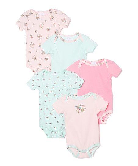 Laura Ashley Baby Pink & Mint Floral Bodysuit Set - Infant | zulily