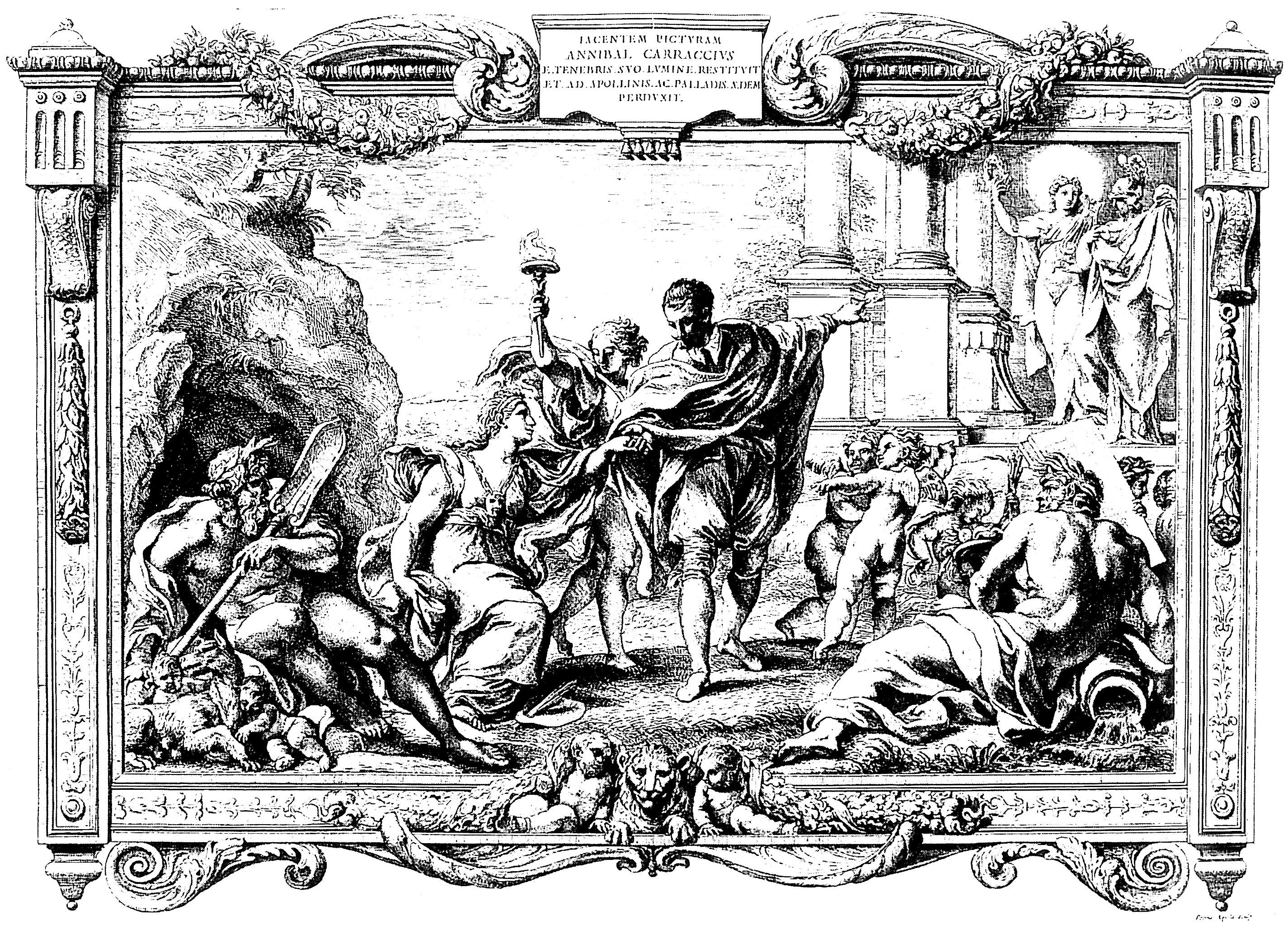 free coloring page coloring adult engraving pietro aquila allegory with