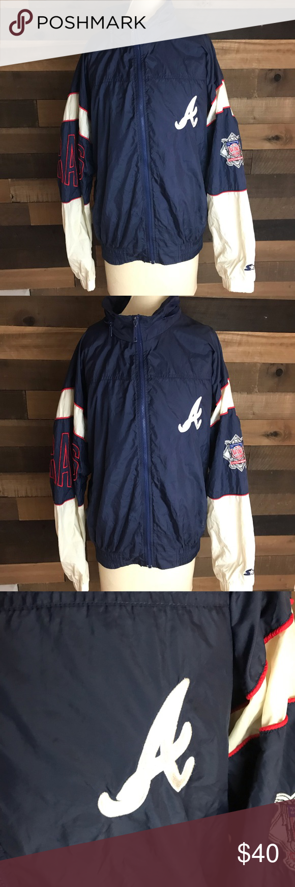 Vintage Atlanta Braves Starter Rain Jacket Large Jackets Light Jacket Atlanta Braves