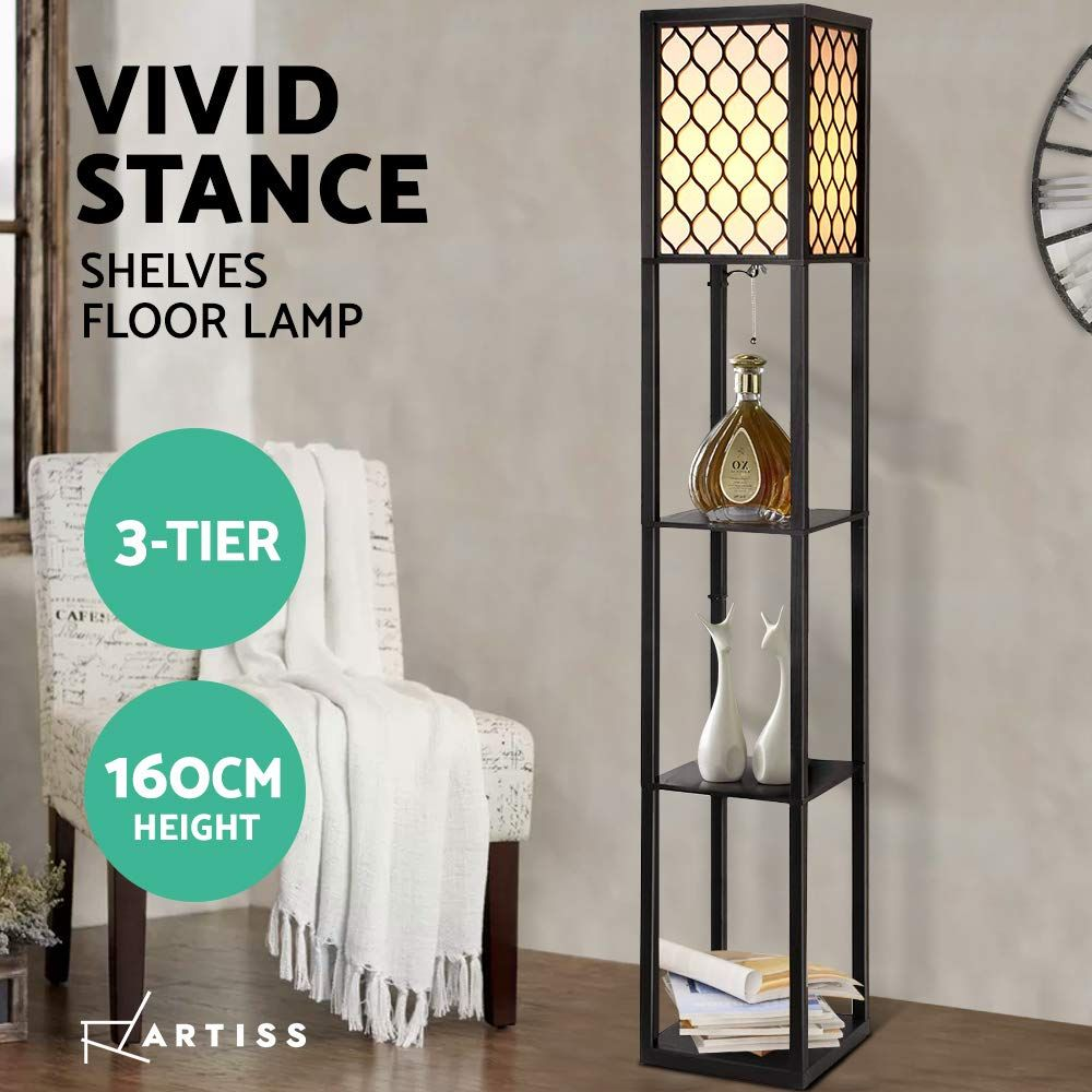 Elegant Design Looking Tall And Elegant The Floor Lamp Comprises An Open Box Structure Design With Time With Images Floor Lamp With Shelves Floor Lamp Vintage Floor Lamp