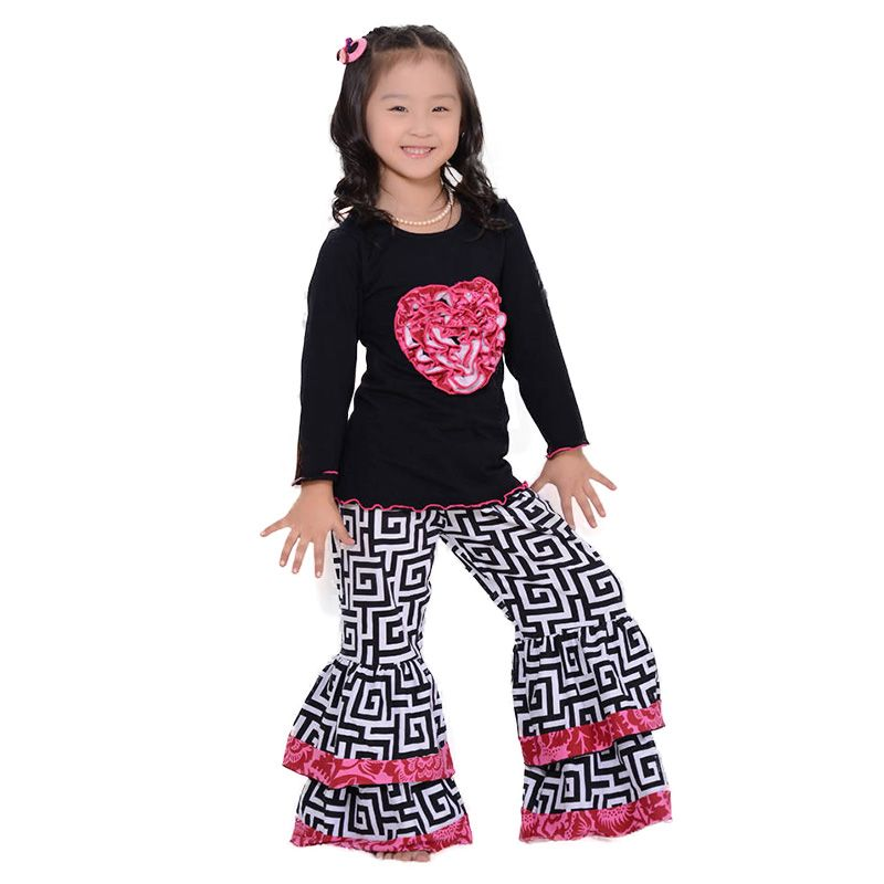Find More Clothing Sets Information about Full Sleeve Valentine Girls Clothes Set Kids Clothes Black Shirt Ruffle Pants Set LOVE  Children Clothing Ruffle Kaiya Angel,High Quality clothes lamb,China clothes button Suppliers, Cheap clothes autumn from kaiya angel clothing factory on Aliexpress.com