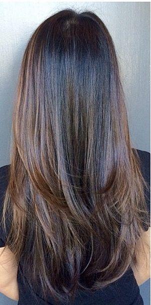 straight long chocolate-brown hair