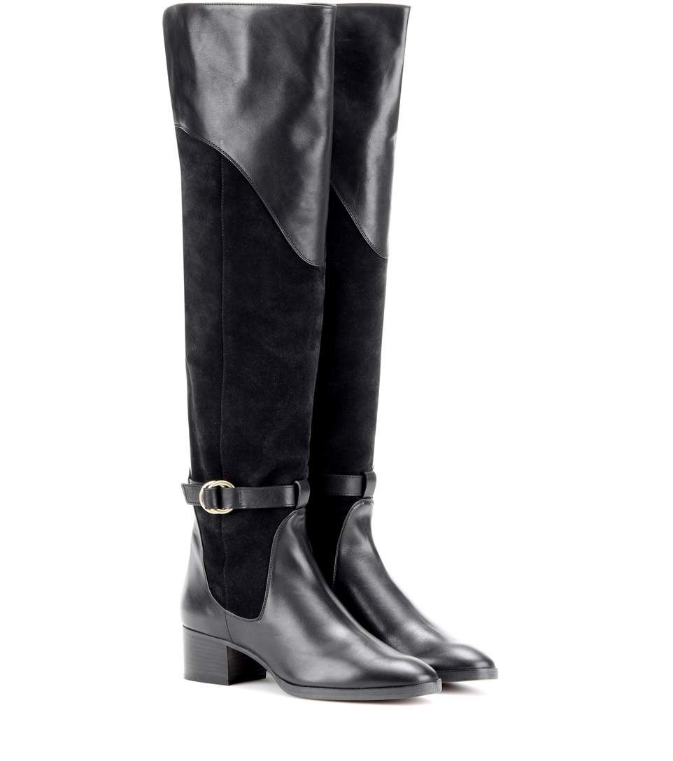0b2647a7be3b mytheresa.com - Suede and leather knee-high boots - Luxury Fashion for  Women   Designer clothing