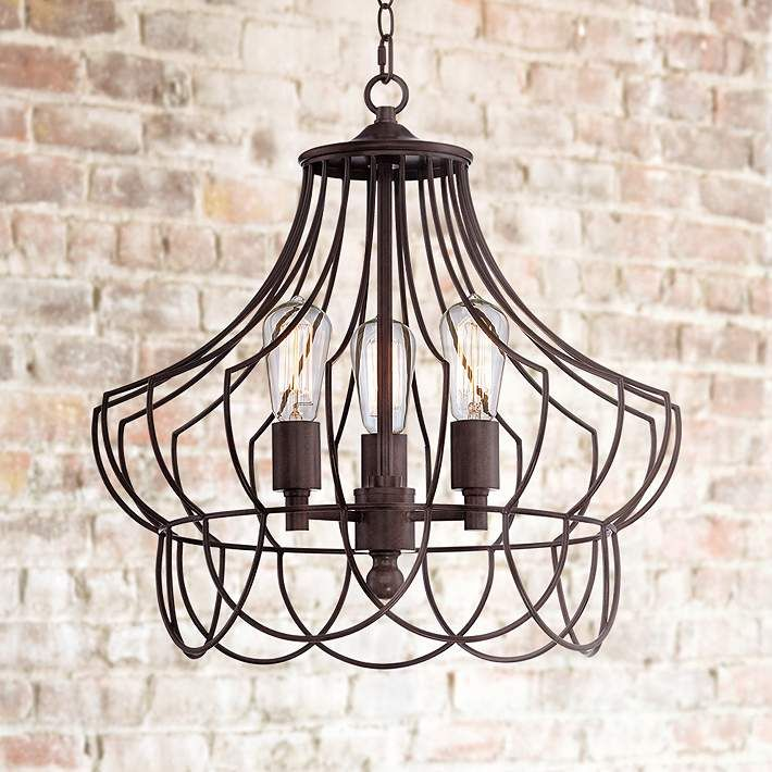 Hansel 19 1 2 Wide Rustic Bronze Open Cage Chandelier