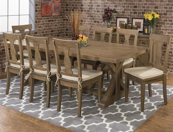 Slater Mill Transitional Solid Wood Fixed Trestle Dining Room Set Beauteous Reclaimed Wood Dining Room Set Design Ideas