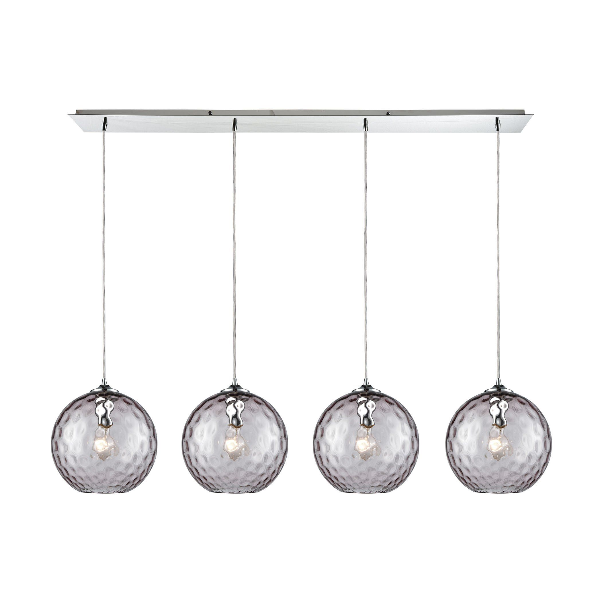 Watersphere light linear pan fixture in polished chrome with