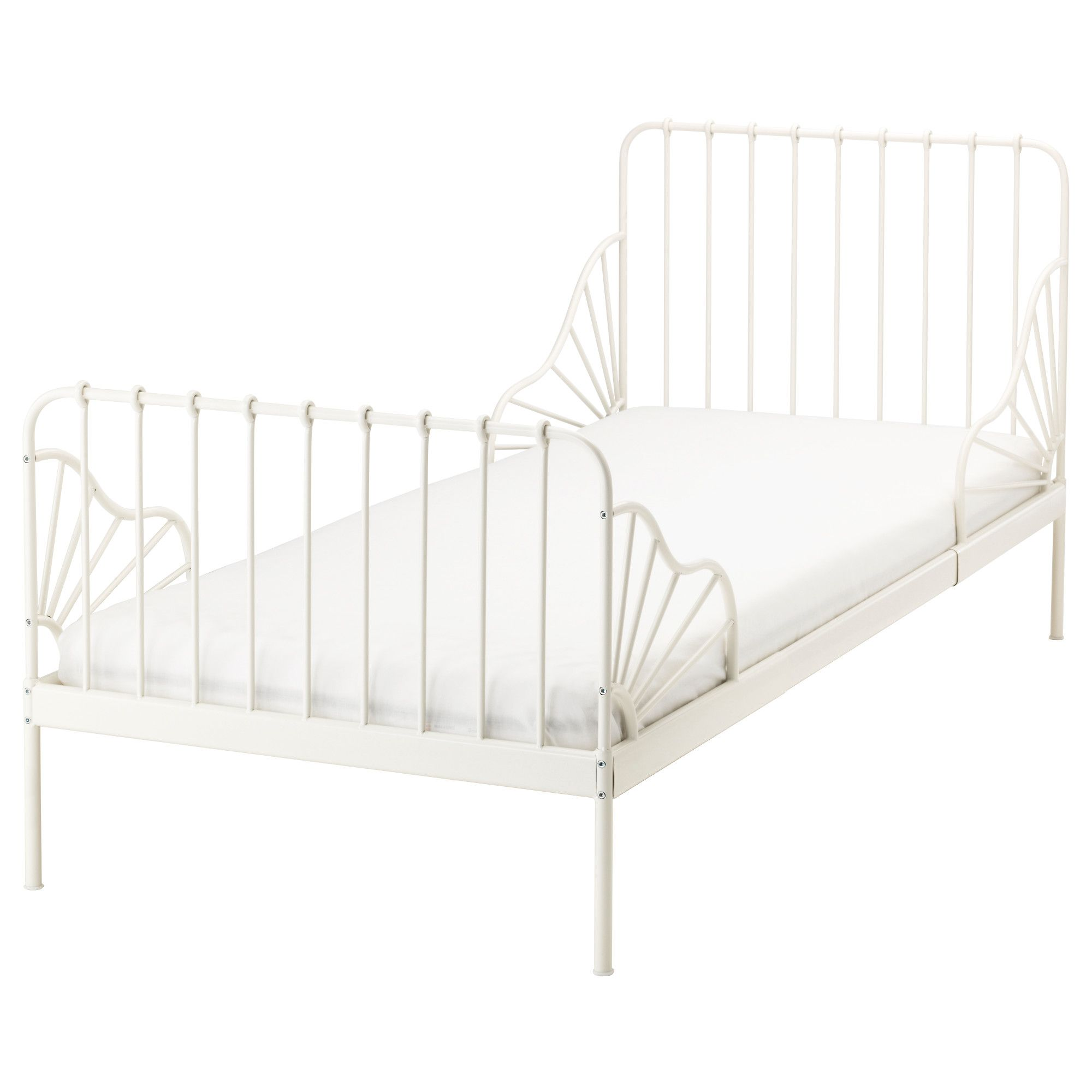 Minnen White Ext Bed With Slatted Bed Base 80x200 Cm Ikea Toddler Bed Frame Ikea Toddler Bed Ikea Bed