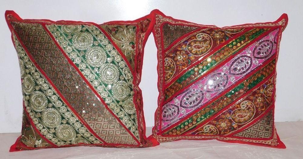 2Pcs Cushion Cover Indian Patchwork Sofa Bohemi Cotton
