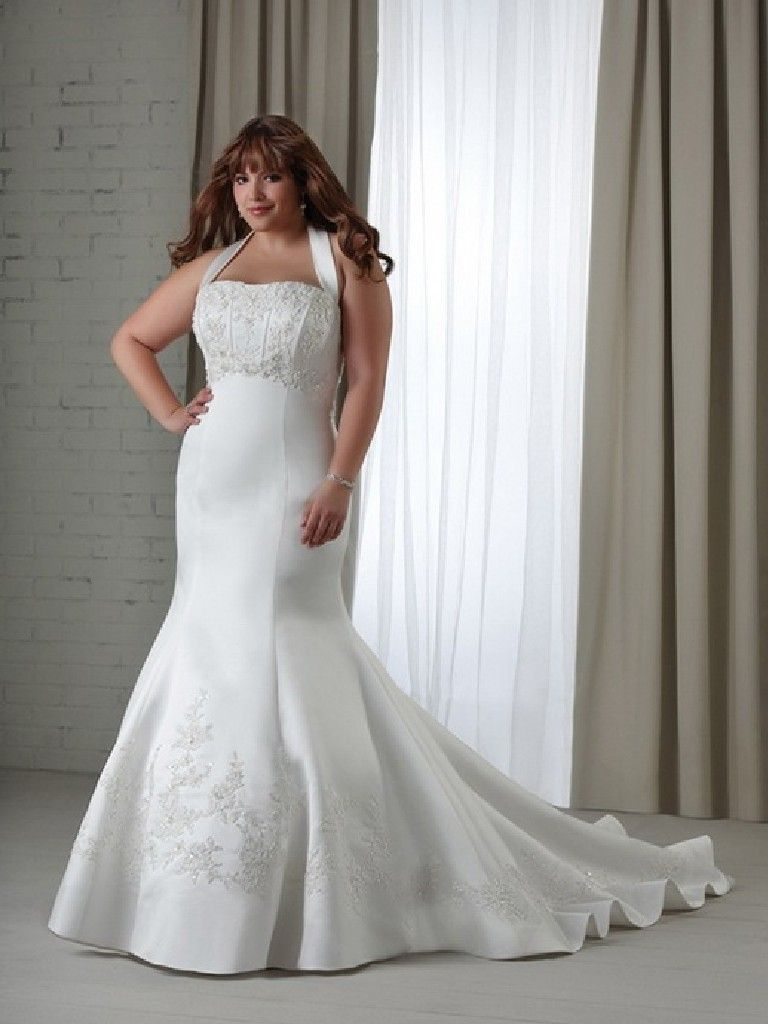 Elegant Simple Plus Size White Wedding Dresses Wedwebtalks