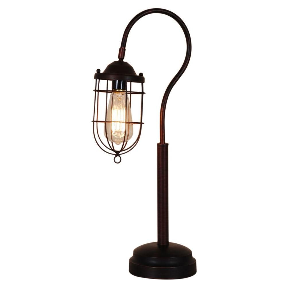 Home Depot Lamp Shades Normande Lighting 24 Inreddish Bronze Vintage Table Lamp  Products