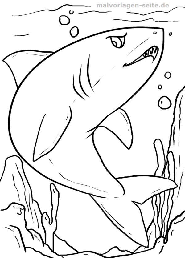 Atemberaubend Große Weiße Haie Malvorlagen Zeitgenössisch ...