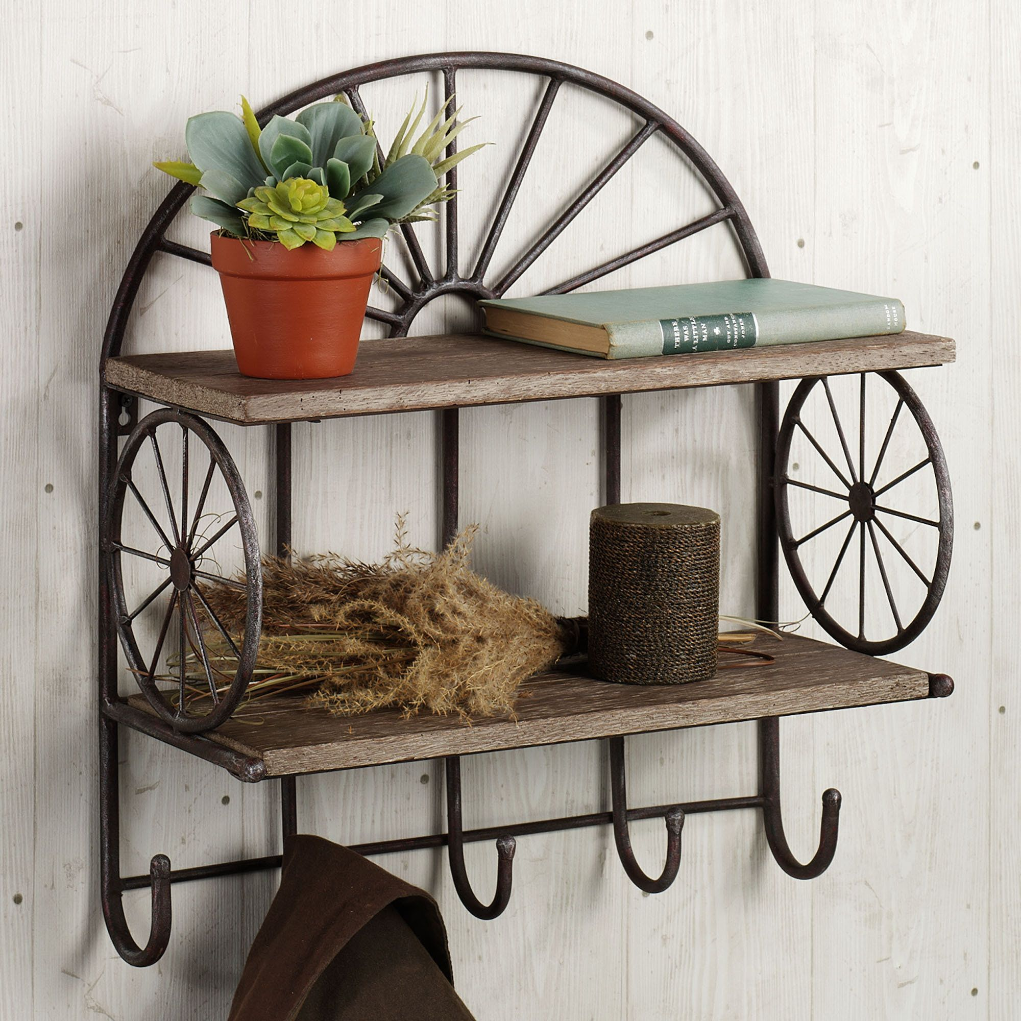 Rustic Style Dark Iron Floating Double Tier Wall Shelves