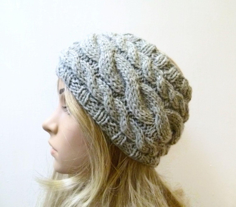 Chunky Wool Cable Headband  Women Wide Wool Headband  Grey Wool