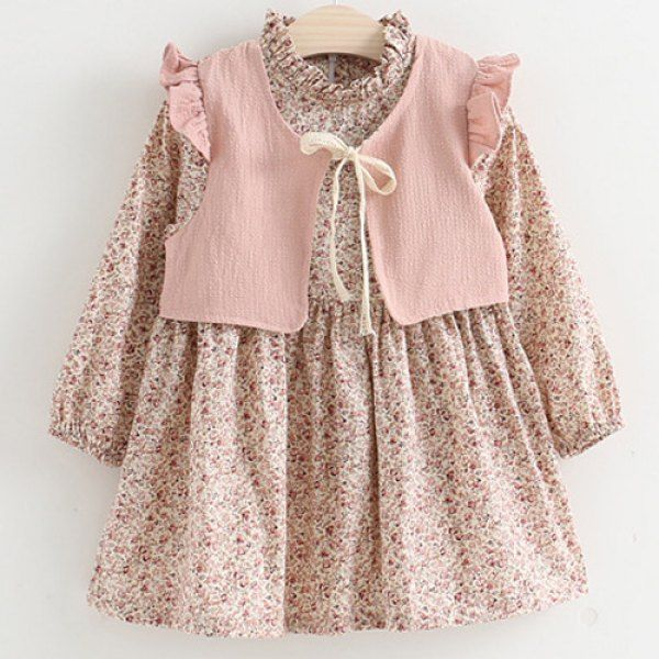 pink floral vest + dress emsemble