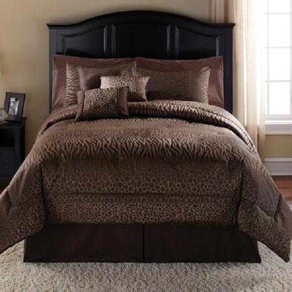 Safari Bedding 7 Pc Set Comforter Set Chocolate Animal Print W