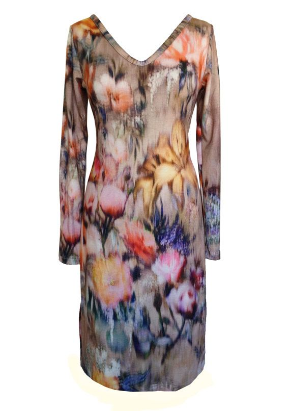 Winter Floral Dress V Neck Plus Size Dress Jersey by tamarziv