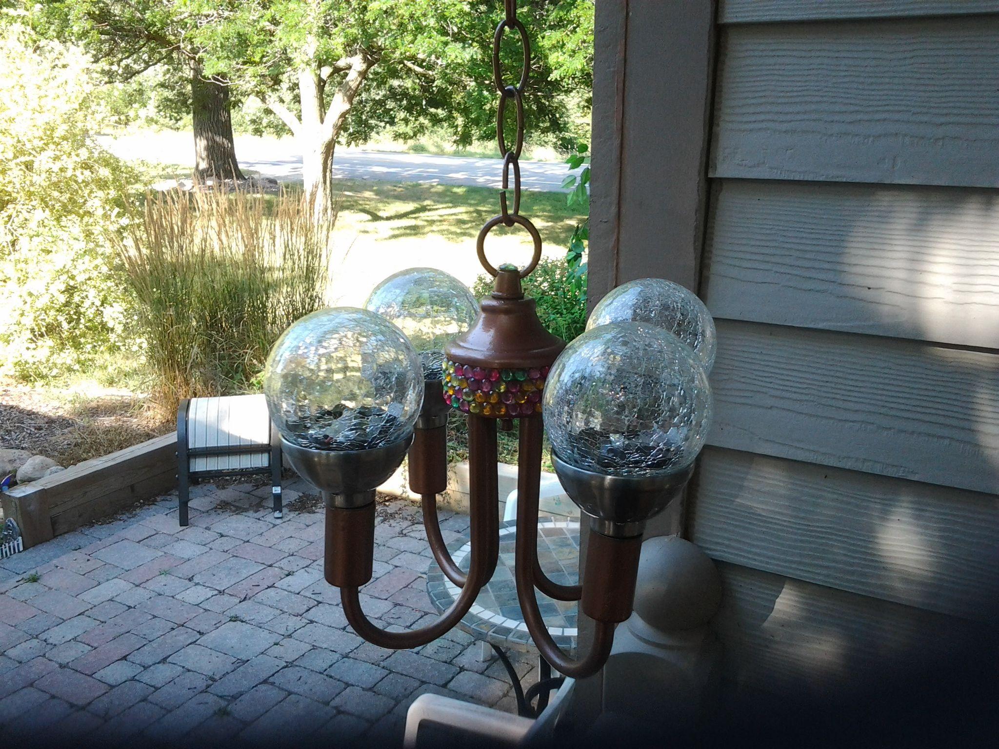 Solar chandelier my garden planning pinterest for Solar light chandelier diy