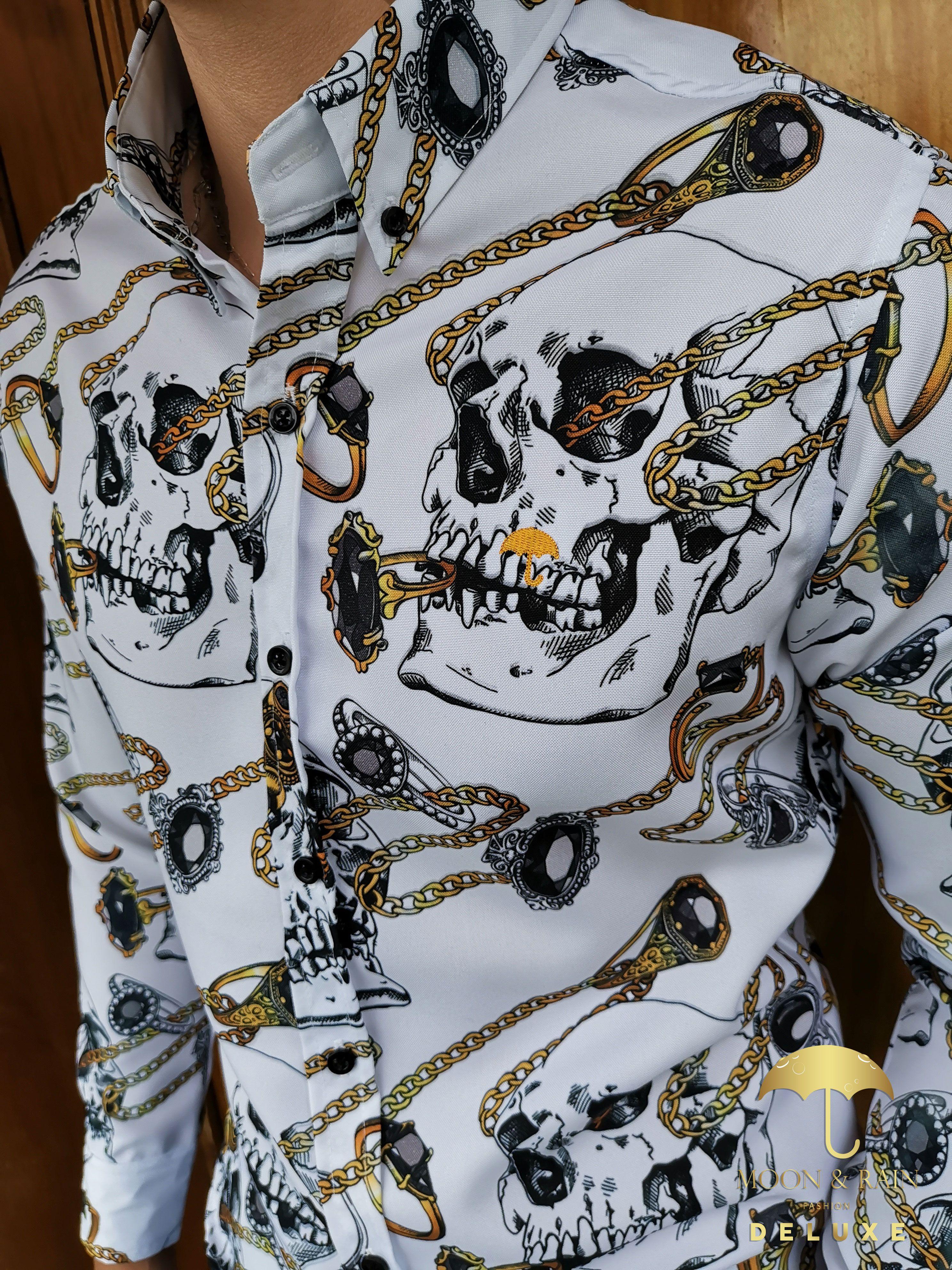 Camisa Blanca Calaveras Y Cadenas Doradas Ropa De Hombre Jeans De Mezclilla Camisas