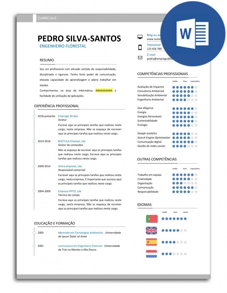 Modelo De Curriculo Editavel Em Word Empleo Y Empleabilidad