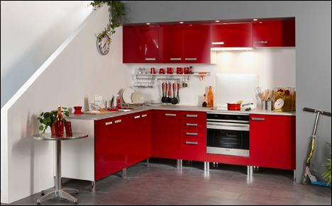 buy parisot imperio 13 units l shaped modular kitchen red online