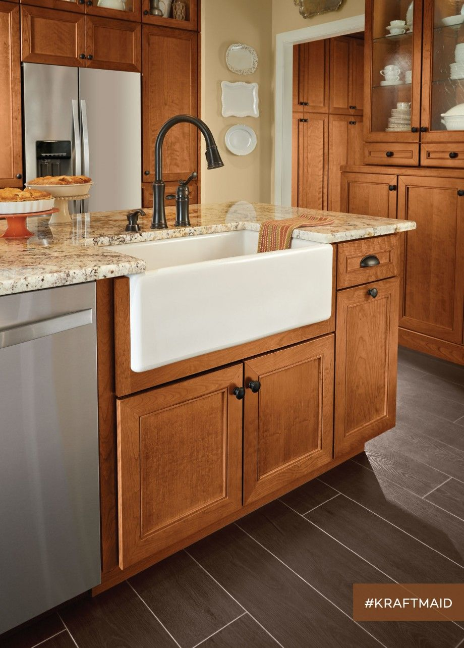 Awesome Kitchen Sink Cabinet Ideas If You Re Completely Redecorating Your Kitchen Or Simply Cherry Cabinets Kitchen Kitchen Sink Decor Farmhouse Sink Kitchen