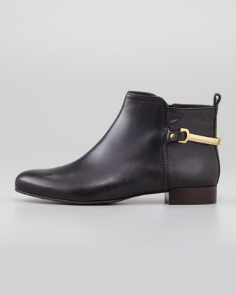 29221f07a9d Tory Burch Jess Low-Ankle Leather Bootie