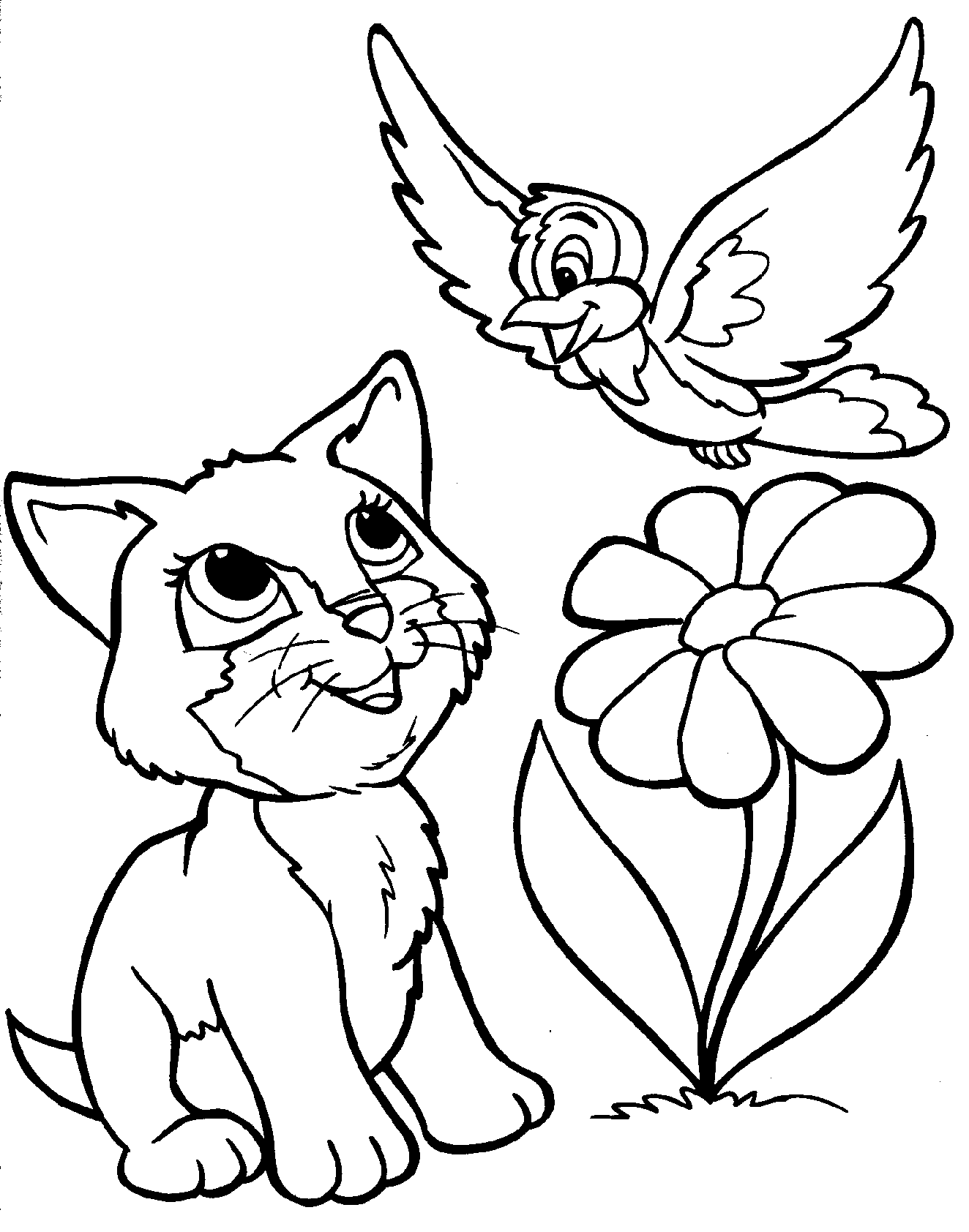 Kitten Bird Flower Coloring Page Printable
