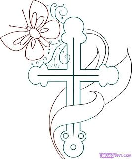 Religious Cross drawing art coloring page for Kids