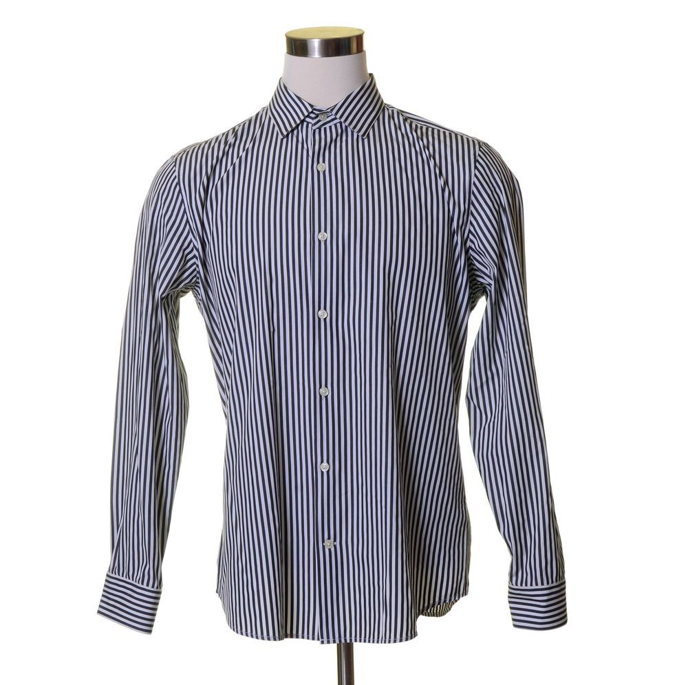 BANANA REPUBLIC White Navy Blue Striped Button Dress Shirt