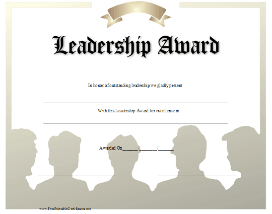 This Leadership Award Displays In Shadow The Images Of Several Men