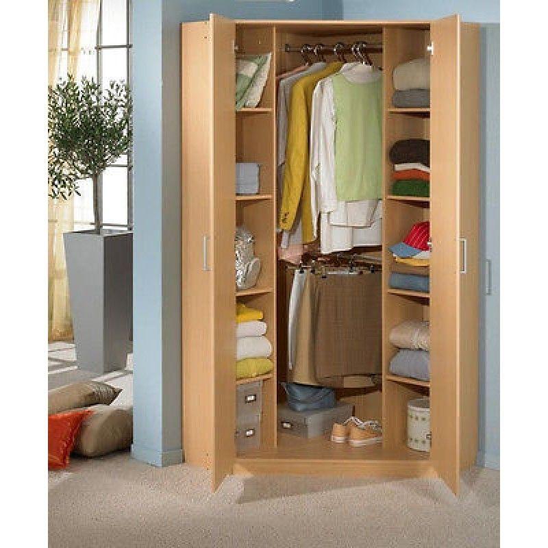 German High Gloss Black And White 2 Door Corner Wardrobe