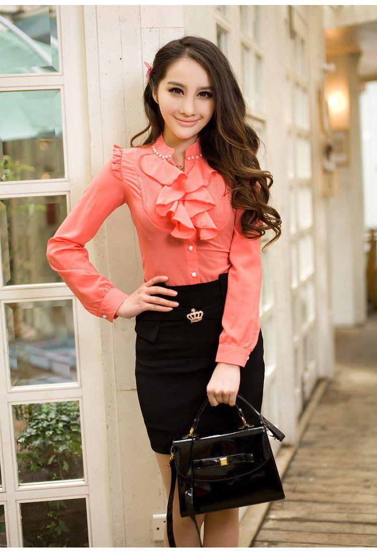 Women S Blouse Las Casual Dress Shirt Long Sleeves Chiffon Tops Slim Summer Fashion Clothes 20 39